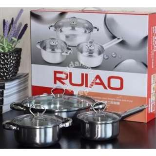 6pcs Stainless Steel Pot (Silver)