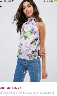 [PLUS SIZE] shell top with shirring details in lilac floral