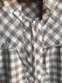 Brown Checkered Zipper Blouse