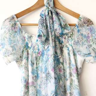 Pastel floral print chiffon top with belt