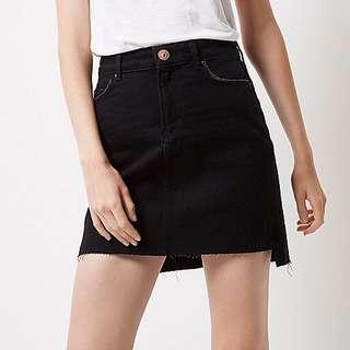 A-Line Black Denim Skirt