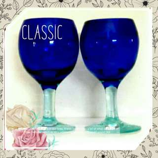 Free Hand Blown Cobalt Blue Couple Goblets