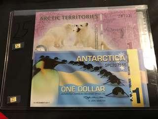 [25] 超稀有1元南極紙幣兩張 UNC頂級直版