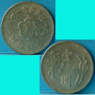 Coin Republic of China Taiwan 1 Yuan Year 64 1975 Y536