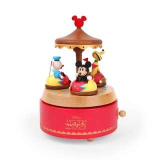 迪士尼 Disney / 米奇好朋友木質旋轉音樂盒 / D285 / 米老鼠 mickey 唐老鴨 布魯托 遊樂園 碰碰車