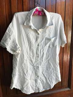 White Button Down Linen Polo