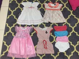 Set 4pcs Girl Dress 1-2years with pos