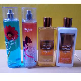 Lot of Four (4) Bath & Body Works Products (Fragrance mist, lotion, body wash)
