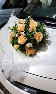 Wedding car decoration - artificial flowers