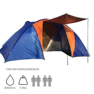 帳篷 多人 防水雙層  兩室一廳 4-6人營 家庭營 戶外用品 高品質 TENT CAMPING FAMILY 野營 露營 包郵 CA034#