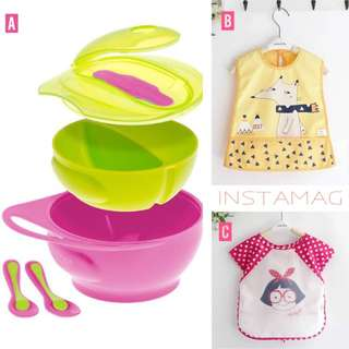 Bibs and weaning bowl