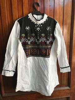 Beaded Dress w/ Chinese Collar
