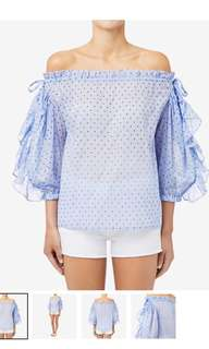 Seed size 8 off shoulder blue sheer polka dot top
