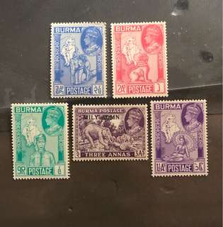 Burma Early king George VI stamps 5v mint (slight toned gum)