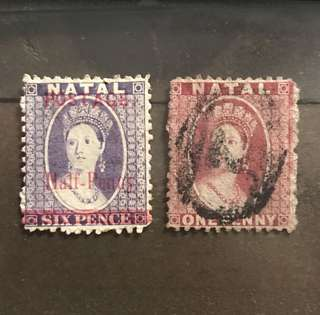 Natal very early Queen Stamps 2v used