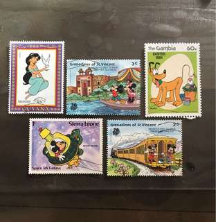 Cartoon stamps 5v Mickey and others