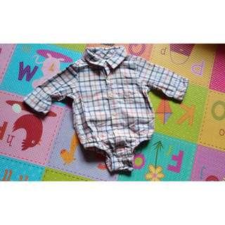 🚚 9成新「baby Gap」格紋襯衫包屁衣 3-6M