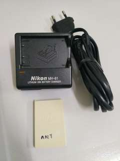 Nikon MH-61 camera charger with EN-EL5 1100mah battery