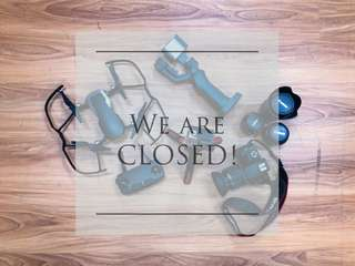 We are CLOSED for 2 weeks!