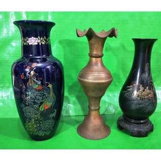 A group of bronzes, porcelain, lacquer vase set of 3  一组铜质、瓷、漆器制花瓶 3个 铜莲花造型、蓝瓷孔雀花瓶、漆器描金山水花瓶。