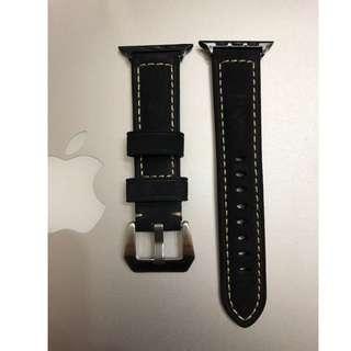 (熱賣款) Apple Watch 錶帶 Panerai 麂皮款 黑色 38mm 42mm Apple Watch Leather Strap