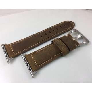 (熱賣款) Apple Watch 錶帶 Panerai皮帶款 深啡 38mm 42mm Apple Watch Leather Strap