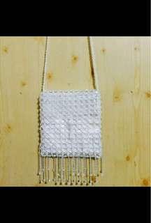 🚚 含運👜古著 復古白色手工串珠流蘇側背包 實背