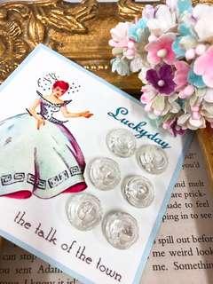 🚚 1930s捷克製造-立體幾何圖形切割古董玻璃鈕扣-1.5cm Vintage Glass Buttons