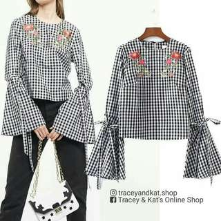 Embroidered Gingham Blouse