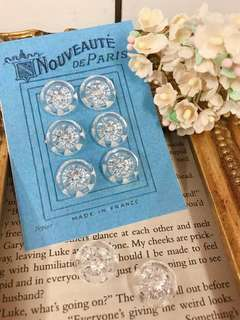 🚚 1940s法國製-立體放射狀星型塑膠古董鈕扣-星型切割-sparkly Vintage French Buttons