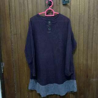 Baju tunik ungu tua SALE RAMADHAN