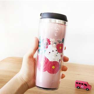Molang Bunny Rabbit Character Flower 350ml 12oz Tumbler Thermos Container Bottle