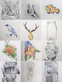 Art pencil drawing class