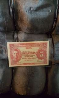 Five cents. 1941 old note.