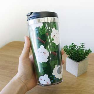 Molang Bunny Rabbit Character Green Forest 15oz Tumbler Thermos Container Bottle