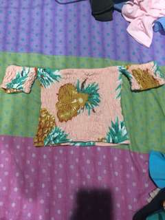 Smocked off shoulder pineapple print