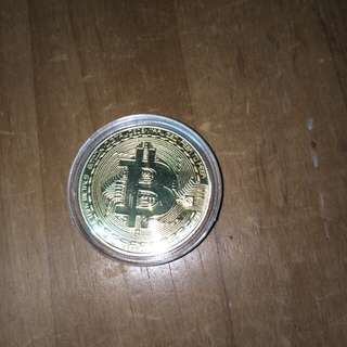 Physical Bitcoin replica with plastic case