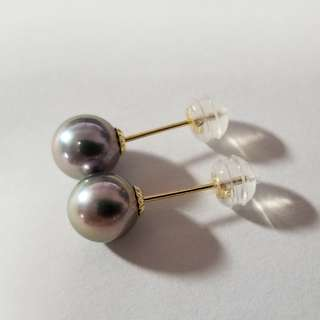 18k珍珠紫金色耳環 18k(750) purple with gold color pearl earring
