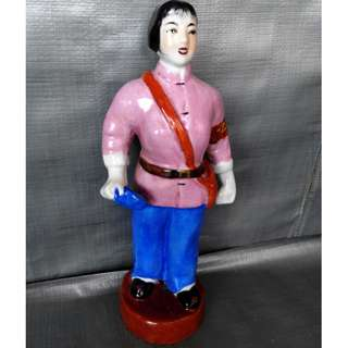 Cultural Revolution Porcelain red army lady. 文革女红军瓷塑