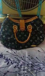 Mini Louis Vuitton 'Pleaty' Denim Monogram Bag