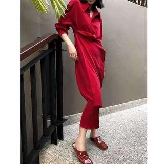 IOZ 歐洲小眾 獨特不對稱長襯衫裙 紅