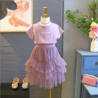 🚚 韓版女童裝兩件套裝字母T+不規則紗裙
