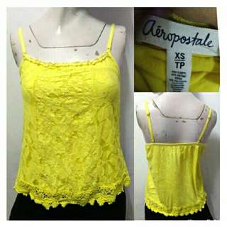 SALE preloved classy aeropostale yellow lacey summer top
