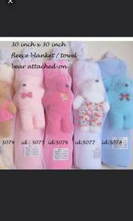 Microfiber Towel / Blanket with attached soft toy