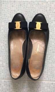 名牌 Ferragamo 黑色 真皮 女裝鞋