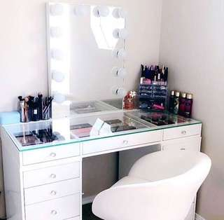 Vanity table, frameless hollywood mirror and stool