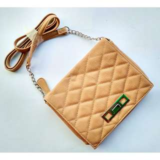 CANDIE'S Quilted Tan PU Crossbosy Shoulder Sling Bag