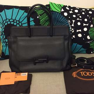 (New) TOD's Calf Leather Black Satchel