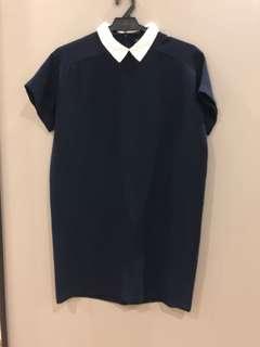 Zara Peter Pan Collar Navy Dress Size S