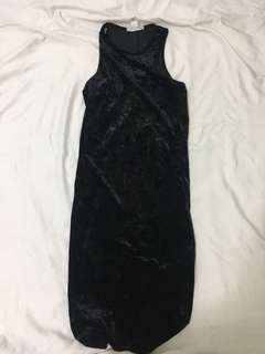 f21 black velvet bodycon dress